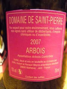 Arbois Chateau-Renard 2007 étiquette