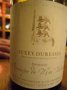 Auxey-Duresses 2002 domaine Véronique de Mac Mahon