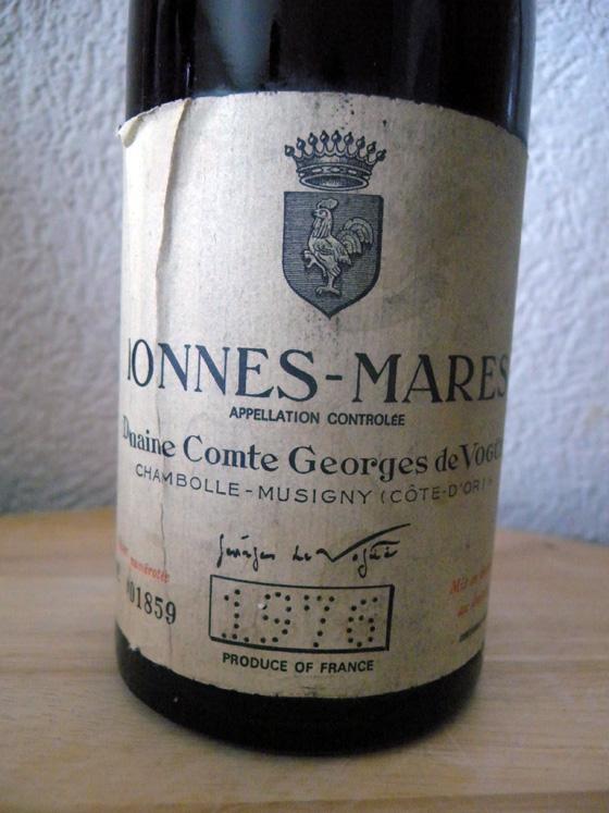 Bonnes-Mares 1976 du domaine Comte Georges de Vogüe