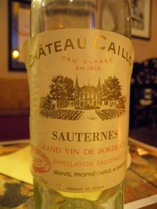 Château Caillou 1959 l'étiquette