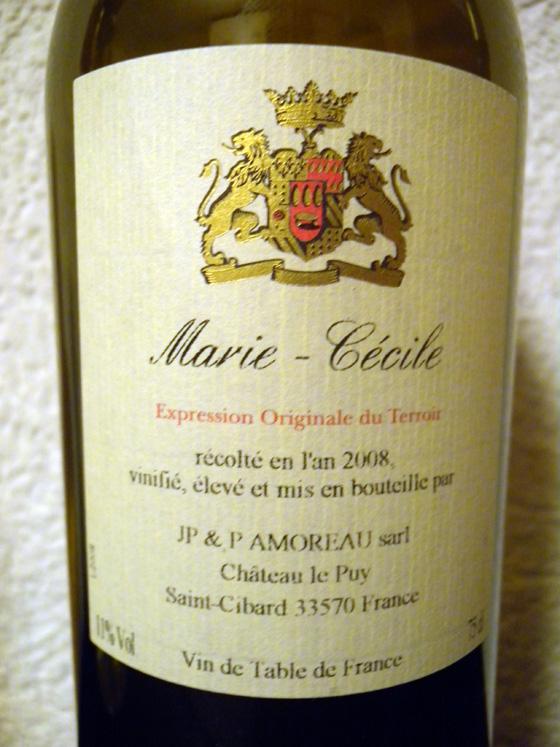 Château Le Puy Marie-Cécile blanc 2008
