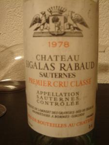Château Sigalas Rabaud 1er cru 1978