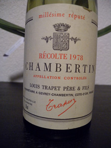 Chambertin Grand Cru 1978 du Domaine Trapet