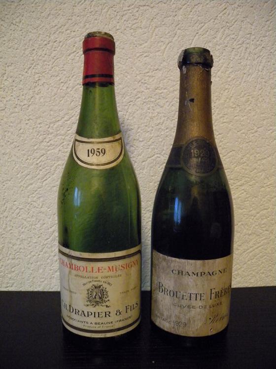 Chambolle-Musigny 1959 de Drapier et Champagne Brouette frères cuvée de luxe  1929