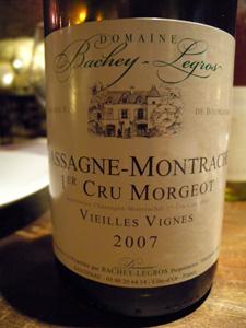Chassagne-Montrachet 1er cru Morgeot VV 2007 du domaine Bachey-Legros