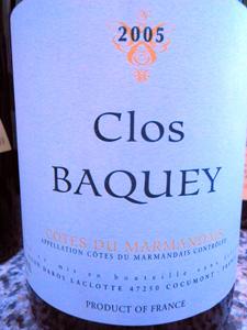 Clos Baquey 2005 d'Elian Da Ros