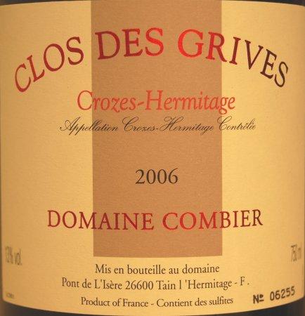 Crozes-Hermitage Clos des Grives blanc 2006 du domaine Combier
