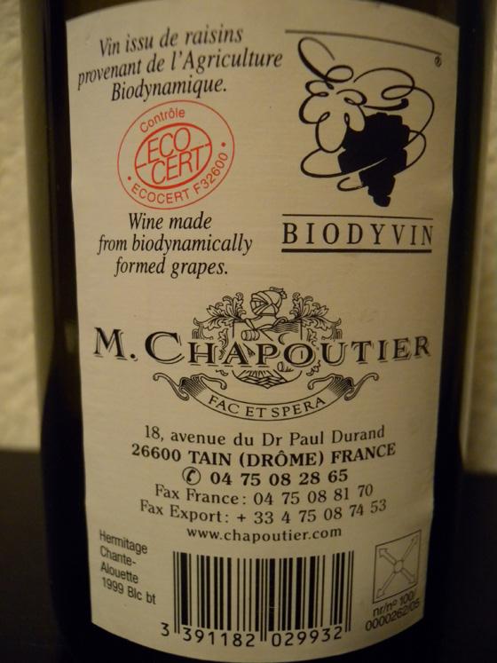 Hermitage blanc Chante-Alouette 1999 de Chapoutier