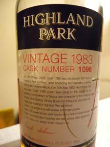 Highland Park vintage 1983 cask nbr 1096
