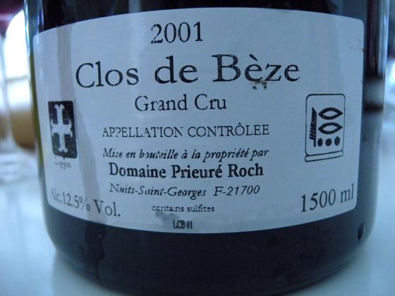 Magnum Clos de Bèze Grand Cru 2001 du Domaine Prieuré Roch