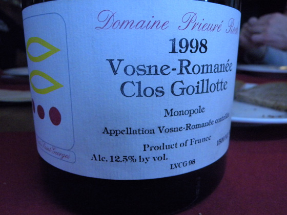 Magnum de Clos Goillote 1998 du Domaine Prieuré roch