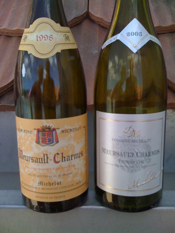 Meursault Charmes 1er cru 1998 et 2005 du domaine Michelot