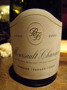Meursault Charmes 1er cru 2006 du domaine Bernard-Bonin
