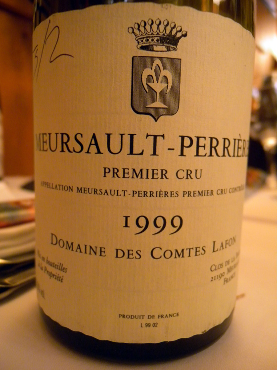 Meursault-Perrières 1er cru 1999 du Domaine des Comtes Lafon
