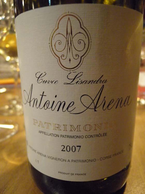 Patrimonio blanc cuvée Lisandra 2007 d'Antoine Aréna