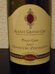 Pinos Gris Grand Cru Zinnkoepflé 2007 d'Agathe Bursins