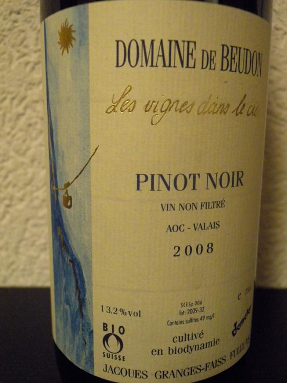 Pinot Noir 2008 du Domaine de Beudon (Valais)