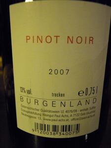 Pinot noir 2007 Paul Achs derrière