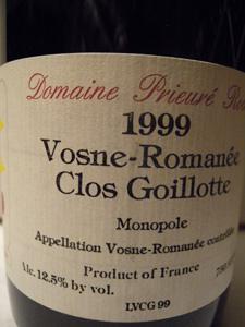 Romanée Clos Goillotte 1999 du Domaine Prieuré Roch