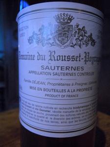 Sauternes crème de tête 2002 du Domaine du Rousset-Peyraguey