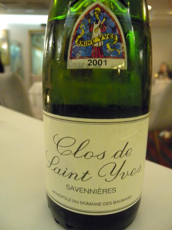 Savennière Clos de St Yves 2001 de chez Baumard