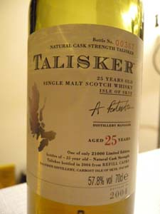 Talisker aged 25 years bottled in 2004