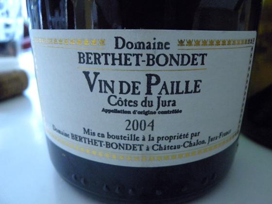 Vin de paille 2004 du domaine Berthet-Bondet