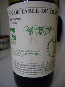 Vin de table de Louis et Chantal Julian aux Tavernes