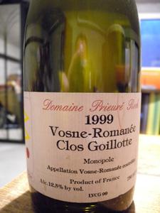 Vosne-Romanée Clos Goillotte 1999 du domaine Prieuré-Roch