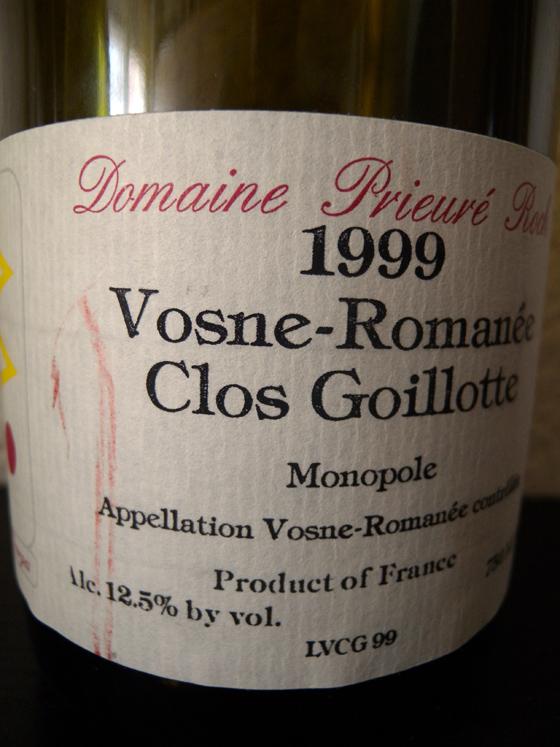 Vosne Romanée Le Clos Goillotte 1999 du Domaine Prieuré Roch