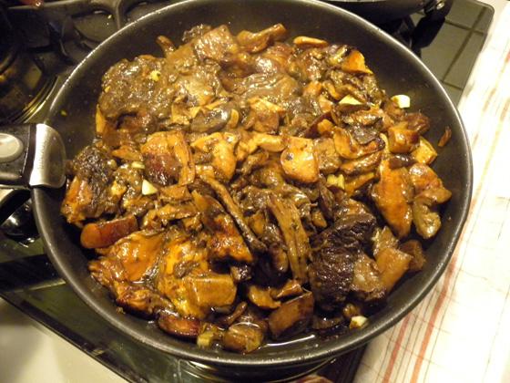 cèpes ramassés par Jacques en fin de cuisson