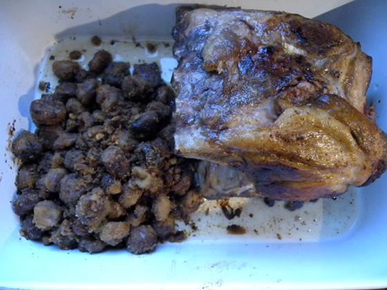 côtes de cochon Noir de Bigorre et ses marrons