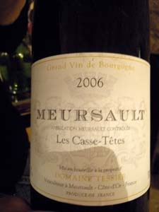 jéroboam de Meursault Les Casse-Têtes 2006 domaine Tessier
