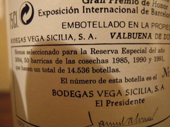 le dos de l'étiquette du Vega Sicilia Reserva Especial