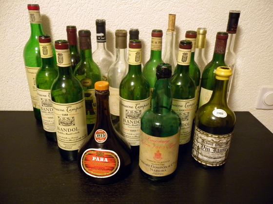 les bouteilles de la soirée