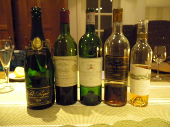 les vins de la soirée