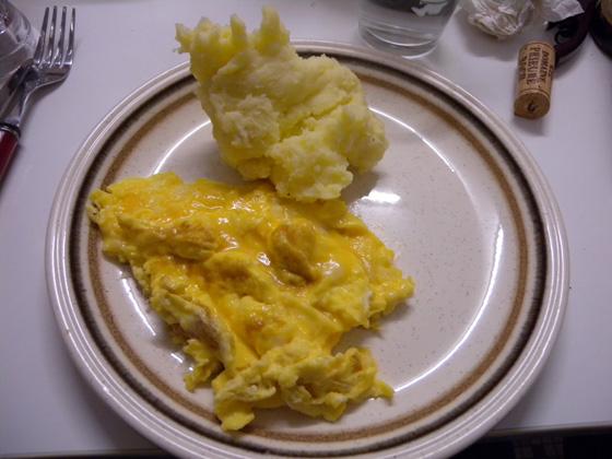 omelette et pommes de terre
